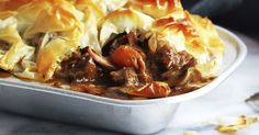 A classic winter dish, these delicious Beef, Guinness & Mushroom Pies are slow-cooked to perfection and then topped with crunchy filo pastry.