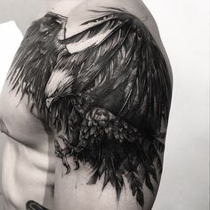 Image may contain: one or more people and bird Arm Cover Up Tattoos, Cool Chest Tattoos, Chest Piece Tattoos, Badass Tattoos, Body Art Tattoos, Tattoos For Guys, Cool Tattoos, Wing Tattoos, Tatoos