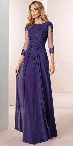 7ab35ef67ca  118.99  Stunning Tulle   Chiffon Bateau Neckline 3 4 Length Sleeves A-line  Mother Of The Bride Dresses With Beaded Lace Appliques. Blue Jean DressBride  ...
