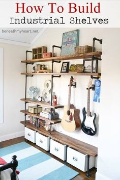 Sharing the evolution of the boys' room in our upstairs addition with industrial shelves for organization.