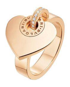 Bvlgari Bulgari Inspired Cuore Pink/Rose Gold And Pave Diamond Ring Rose Gold Band Ring, Pink Gold Rings, Pink Ring, Pink And Gold, Red Gold, Golden Jewelry, Rose Gold Jewelry, Jewelry Rings, Lotus Jewelry