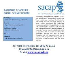 SACAP are excited to announce the launch of the Bachelor of Applied Social Science Degree. Call 0860771111 for more information. Image supplied by SACAP. Social Science Degree, Applied Psychology, Classroom Environment, Career, Knowledge, College, African, Learning, Image