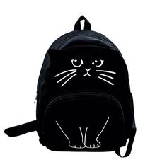 Cute Cat Embroidery Backpack Cat Ears Printing Women Canvas Backpacks For Teenage Girls College Style Casual Backpack Sac a dos