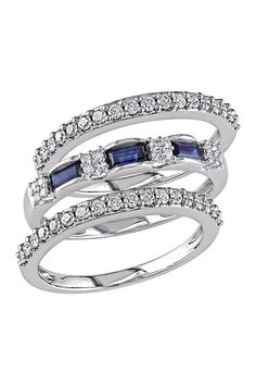 Stacking Diamond & Baguette Sapphire Ring Set