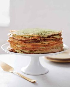Green-Tea Crepe Cake from Martha Stewart Living, I also like to make this recipe with a raspberry cream filling.