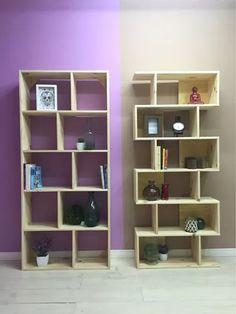 biblioteca 5 estantes pino 10 cubos 80x25x180cm tablero 22mm
