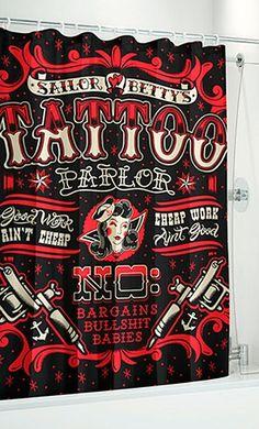 Sailor Bettie Shower Curtain by Sourpuss Clothing #InkedShop #shower #curtain #bathroom #decor