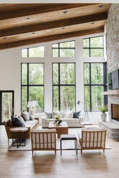 Living room living room design living room decor modern stone fireplace Studio McGee McGee & Co. Painting Moving Decor and Organization Home Living Room, Living Room Designs, Living Room Decor, Lake House Family Room, Studio Beauty, Modern Lake House, Modern Farmhouse Design, Farmhouse Decor, Farmhouse Furniture