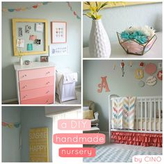 This nursery has so many great ideas... the needlepoint hoops above the bed, the quilt, the curtains, the ombre drawers on the dresser... love!