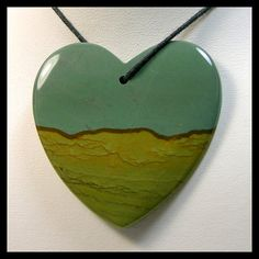 Extra Large Heart Focal Bead Made From Big Horn Jasper
