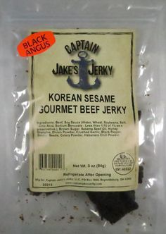 Discover how Captain Jake's Jerky - Korean Sesame beef jerky fared in a jerky review. http://jerkyingredients.com/2015/08/14/captain-jakes-korean-sesame-beef-jerky/ @captnjakesjerky #captainjakesjerky #beefjerky #review #food #jerky #ingredients #jerkyingredients #jerkyreview #beef #paleo #paleofood #snack #protein #snackfood #foodreview #korean #sesame #sesameseed #teriyaki