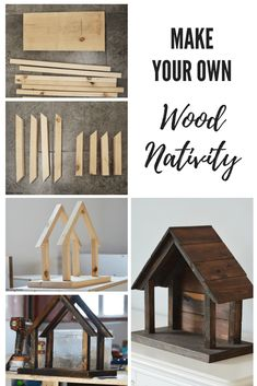 to make your own wood nativity DIY natvitiy for willow tree figurines. Christmas DecorDIY natvitiy for willow tree figurines. Christmas Wood, Christmas Projects, Holiday Crafts, Holiday Decor, French Christmas, Xmas, Diy Christmas Nativity Scene, Christmas Crafts For Kids To Make, Christmas Villages
