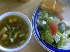 Greek salad with mushroom and baby corn soup
