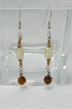 Dressy Long Handmade Earrings, Faceted Citrine and Tiger Eye Beads, Lots of Movement, 2 1/4 Inch Drop, Sterling Silver Beads and Ear Wires by ElysiumUniqueJewelry on Etsy