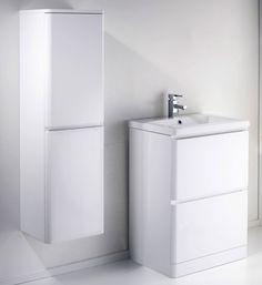 ALASKA 600mm Freestanding White Gloss Basin Vanity Unit + Side Cabinet