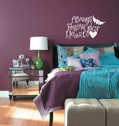 """Always Follow Your Heart"" vinyl lettering decal. Girls room wall decal."