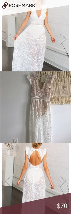 White lace dress Hello Molly None Better Maxi Dress. White see through dress with nude leotard built in. European size says 12. Long to the floor and cute cut! Usually wear a Medium/10 but wanted to see if I could make it work Hello Molly Australia  Dresses Maxi