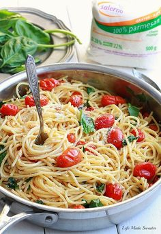 Cherry Tomato, Basil, Spinach and Parmesan Pasta by --- @LifeMadeSweeter.jpg