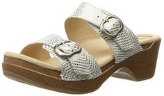 Dansko Women's Sophie Wedge Sandal, White/Metallic Leather, 40 EU/9.5-10 M US *** Continue to the product at the image link.