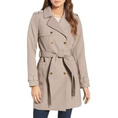 Women's Kenneth Cole New York Belted Trench Coat ($130) ❤ liked on Polyvore featuring outerwear, coats, taupe, double-breasted trench coat, double-breasted coat, brown double breasted coat, brown trench coat and brown coat