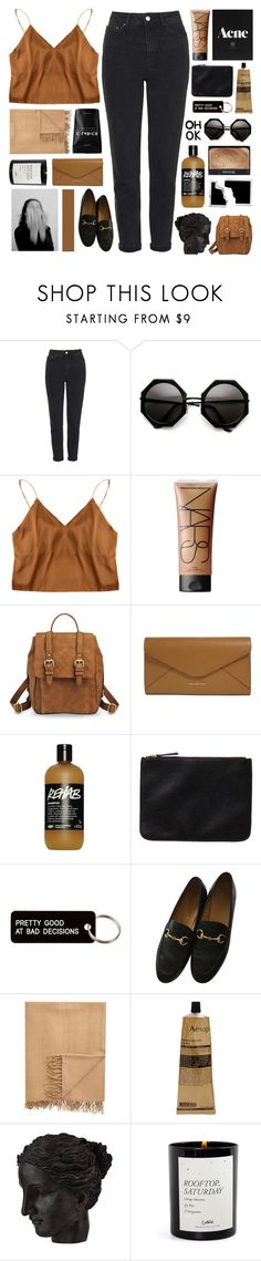"""""""what b.itch workin' as hard as me?"""" by h-eartstrings ❤ liked on Polyvore featuring Topshop, NARS Cosmetics, Merona, Vera Bradley, Monki, Various Projects, Gucci, Armand Diradourian, Aesop and Ren-Wil"""