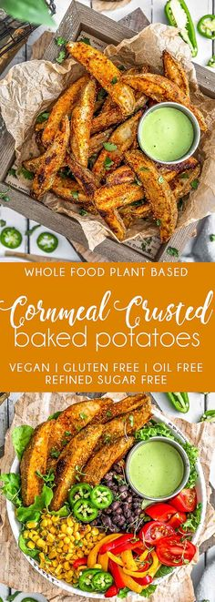 Perfectly seasoned, crispy, and oh-so-crunchy these oil free, vegan Cornmeal Crusted Baked Potatoes are the new essential healthy side dish. Baked Potato Recipes, Baked Potatoes, Cheesy Potatoes, Skillet Recipes, Vegan Side Dishes, Food Dishes, Pastas Recipes, Vegetarian Recipes, Healthy Recipes