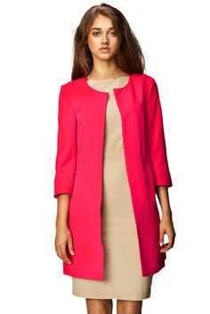 This timeless jacket boasts a collarless, rounded neckline and open front. Structured, clean-cut lines lends every look effortless sophistication. Rosa Blazer, Long Black Blazer, Dyt Type 4 Clothes, Casual Look, Chic Dress, Coats For Women, Sleeves, Pink, How To Wear