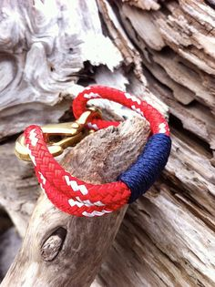 Red & White Nautical Rope Bracelet with Navy Wrap and a Bronze clasp