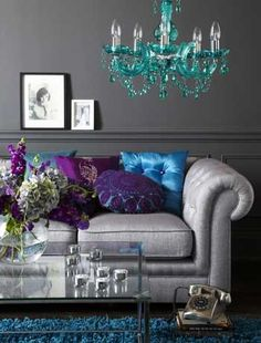 turquoise purple and silver room