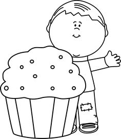 Black And White Boy With A Cupcake Clip Art Art Birthday Space Party Decorations