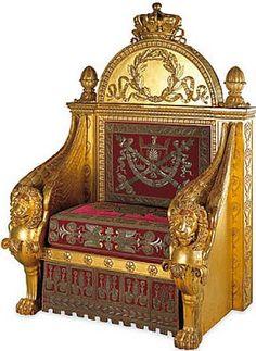 Arts décoratifs Premier Empire - Percier et Fontaine : Trône de Napoléon 1er, pour le Conseil Législatif (musée des arts décoratifs).