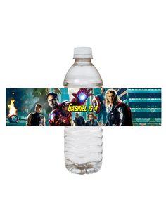 The Avengers-  birthday water bottle lable. $3.90, via Etsy.