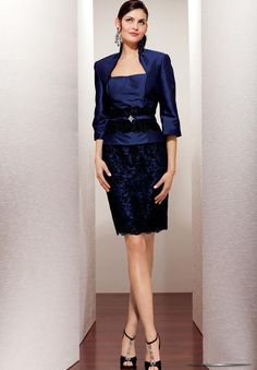Taffeta and Lace Square Sheath Short Mother Of The Bride Dress with Matching Jacket - Mother of the bride - WHITEAZALEA.com