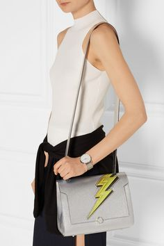 Anya Hindmarch | Bathurst small metallic textured-leather tote | NET-A-PORTER.COM