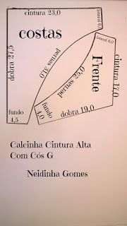 Neidinha Gomes Costuras em geral ( Moldes): Calcinha cintura alta com cós G