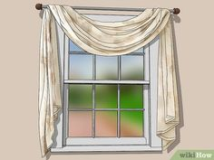 How to Drape Window Scarves. A window scarf, smartly hung, can highlight an entire room. Use a window scarf to cover up a curtain rod, or install scarf hooks to hang a window. Window Swags, Window Coverings, Window Treatments, Drapes And Blinds, Home Curtains, Scarf Curtains, Living Room Drapes, Custom Drapes, Custom Windows