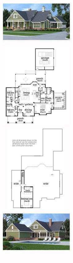 New Craftsman House Plan 65999 | Total Living Area: 1976 sq. ft., 3 bedrooms and 2 bathrooms. #craftsmanhome