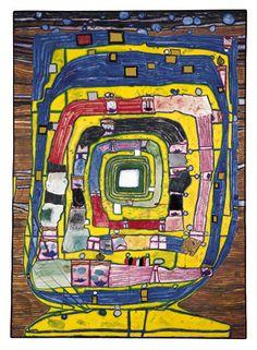 Hundertwasser Friedensreich Hundertwasser, Sketchbook Project, Art Sketchbook, Gustav Klimt, Modern Artists, Artists Like, Abstract Drawings, Abstract Art, Art Pictures