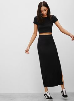 Crop Top + Talula Duryea Skirt + Sneakers