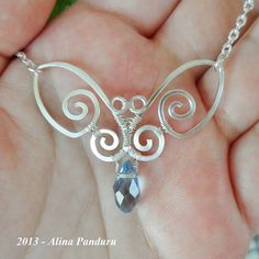 RESERVED - Blue Butterfly Necklace - Handmade Jewelry Wire Wrapped Wirework Silver Plated Wire Hammered - The Perfect Gift For Any Occasion on Etsy, $37.00
