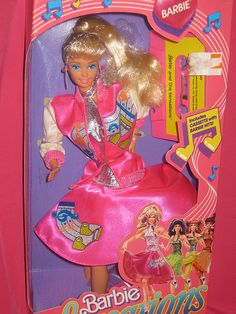 1987 Barbie and the Sensations...this one I did have...it's funny because they were trying to create a 50s look for this one, yet she still came off totallys 80s...and the tape it came with was Barbie singing, and the music was def very 80s...fail at recapturing the 50s even w/ the saddle shoes lol...but i enjoyed her anyways lol