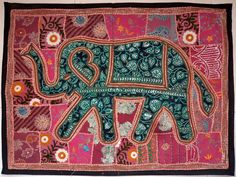 HANDMADE ELEPHANT BOHEMIAN PATCHWORK WALL HANGING EMBROIDERED TAPESTRY INDIA E78…