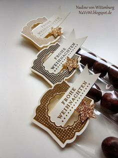 Stampin' Up! Label Love stamp set and Artisan Label punch.  Love the masculine, rich feel.