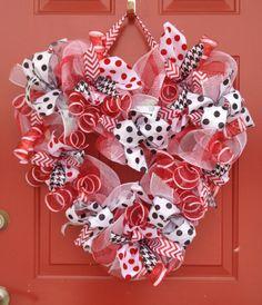 Valentine Heart mesh wreath $32