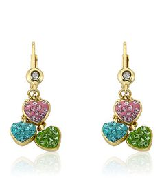Molly Glitz - Crystal & Gold Heart Cluster Earrings - $98.00
