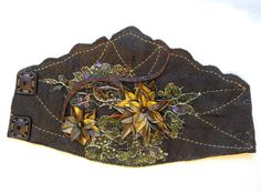 Bracelet - Fishleather, embroidery and crystals.