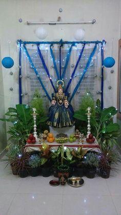 Varalakshmi Vratham 2019 honours the most popular Goddess Maha Lakshmi. Varalakshmi Puja or homam on this day means abundant wealth is sure to come your way. Gauri Decoration, Kalash Decoration, Decoration For Ganpati, Diwali Decorations, Festival Decorations, Ceremony Decorations, Flower Decorations, Rangoli Patterns, Rangoli Designs