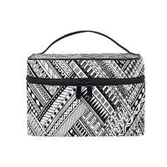 18c50591d185 Makeup Bag Black Geometric Pattern Portable Large Cosmetic Toiletry Brush Bag  Travel Train Case Organizer Box Pouch for Girls Women