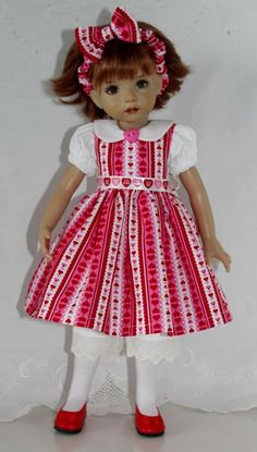 "~*~Happy Hearts Stripe~fits 13"" Effner Little Darling~*~4 PC~*~"