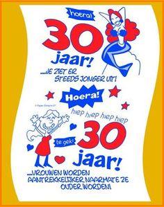 30 Jaar Happy Birthday Hiep Hoera Verjaardag Gefeliciteerd Jarig